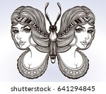 butterfly is drawn in a vintage ... | Shutterstock .eps vector #641294845