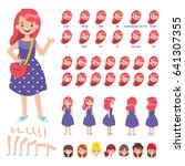 flat vector girl character for... | Shutterstock .eps vector #641307355