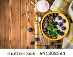 granola with blueberries and... | Shutterstock . vector #641308261