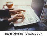 hand of woman working with her... | Shutterstock . vector #641313907