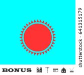 sun icon flat. red pictogram on ...