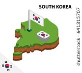 isometric map and flag of south ... | Shutterstock .eps vector #641315707