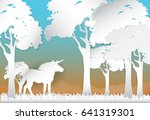 unicorn in the forest and hill...   Shutterstock .eps vector #641319301
