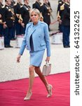 Small photo of PARIS, FRANCE - MAY 14, 2017 : Brigitte Macron, the wife of the new president of France Emmanuel Macron arriving at Elysee Palace (Palais de l'Elysee) for the ceremony of transfer of power.