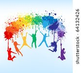 colorful bright ink splashes... | Shutterstock .eps vector #64132426