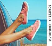 outdoor photo of female legs... | Shutterstock . vector #641325601