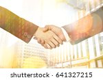 multiethnic hands together with ... | Shutterstock . vector #641327215