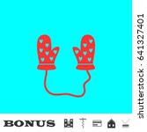 baby gloves icon flat. red...