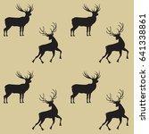 pattern two deer on a light... | Shutterstock .eps vector #641338861