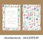 wedding invitation. floral... | Shutterstock .eps vector #641339539