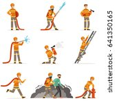 firemen characters doing their... | Shutterstock .eps vector #641350165