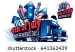 fast moving american truck with ... | Shutterstock .eps vector #641362429