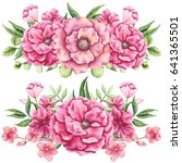 watercolor bouquets with bright ... | Shutterstock . vector #641365501