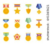 military medals vector isolated ... | Shutterstock .eps vector #641365621