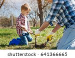 father and son gardening... | Shutterstock . vector #641366665