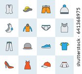 clothes colorful outline icons... | Shutterstock .eps vector #641368975
