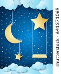 surreal night with hanging moon ... | Shutterstock .eps vector #641371069