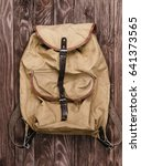 old military backpack on wooden ... | Shutterstock . vector #641373565