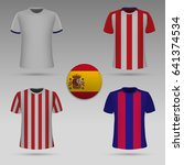 set of football kit of spanish... | Shutterstock .eps vector #641374534