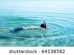 young man swimming with mask... | Shutterstock . vector #64138582