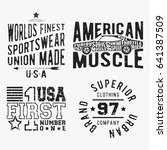 t shirt print design. set of... | Shutterstock .eps vector #641387509