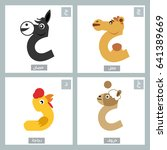 arabic alphabet colorful animal ... | Shutterstock .eps vector #641389669