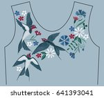 Stock vector embroidery stitches with swallow birds wild flowers for neckline fashion embroidered ornament for 641393041