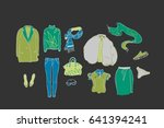 fall and winter clothes... | Shutterstock .eps vector #641394241