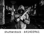 aggressive man with a baseball... | Shutterstock . vector #641403961