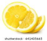 juicy yellow lemon sections... | Shutterstock . vector #641405665