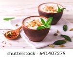traditional indian almond lassi ... | Shutterstock . vector #641407279