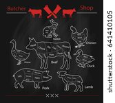 set of animal cuts for butcher... | Shutterstock .eps vector #641410105