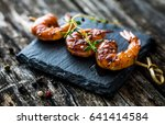 grilled honey soy shrimp | Shutterstock . vector #641414584