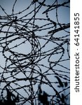 closeup of a barbed wire over... | Shutterstock . vector #64141855
