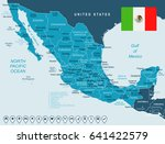 mexico map and flag   highly... | Shutterstock .eps vector #641422579