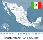 mexico map and flag   highly... | Shutterstock .eps vector #641422609