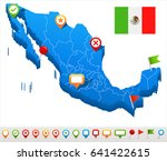 mexico map and flag   highly... | Shutterstock .eps vector #641422615