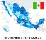 mexico map and flag   highly... | Shutterstock .eps vector #641422639
