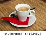 white coffee cup on wooden... | Shutterstock . vector #641424829