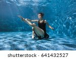 dancing woman under the water... | Shutterstock . vector #641432527