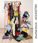 untidy cluttered woman wardrobe ... | Shutterstock . vector #641433784