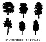 set of tree silhouettes for... | Shutterstock . vector #64144153