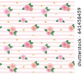 seamless pattern with roses and ... | Shutterstock .eps vector #641458459