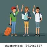 people men traveler tourist... | Shutterstock .eps vector #641461537