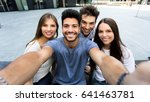 four friends taking a selfie... | Shutterstock . vector #641463781