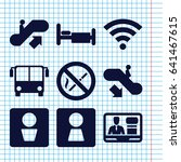 set of 9 public filled icons... | Shutterstock .eps vector #641467615