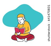 a muslim man is reading the... | Shutterstock .eps vector #641470831