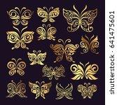 butterfly logo set | Shutterstock .eps vector #641475601