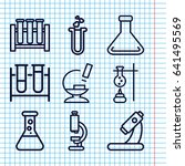 set of 9 lab outline icons such