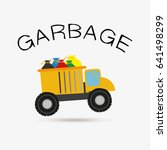 garbage vector  yellow truck... | Shutterstock .eps vector #641498299